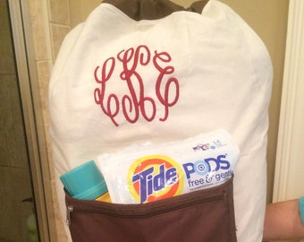 Personalized Laundry Bag/ College Laundry bag/Large laundry bag with pocket/ Graduation gift