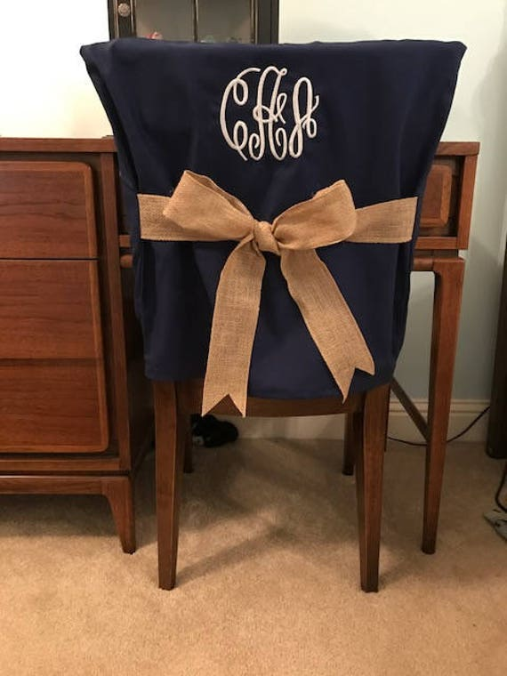 Desk Chair Covers Navy Monogrammed Dorm Chair Back Cover