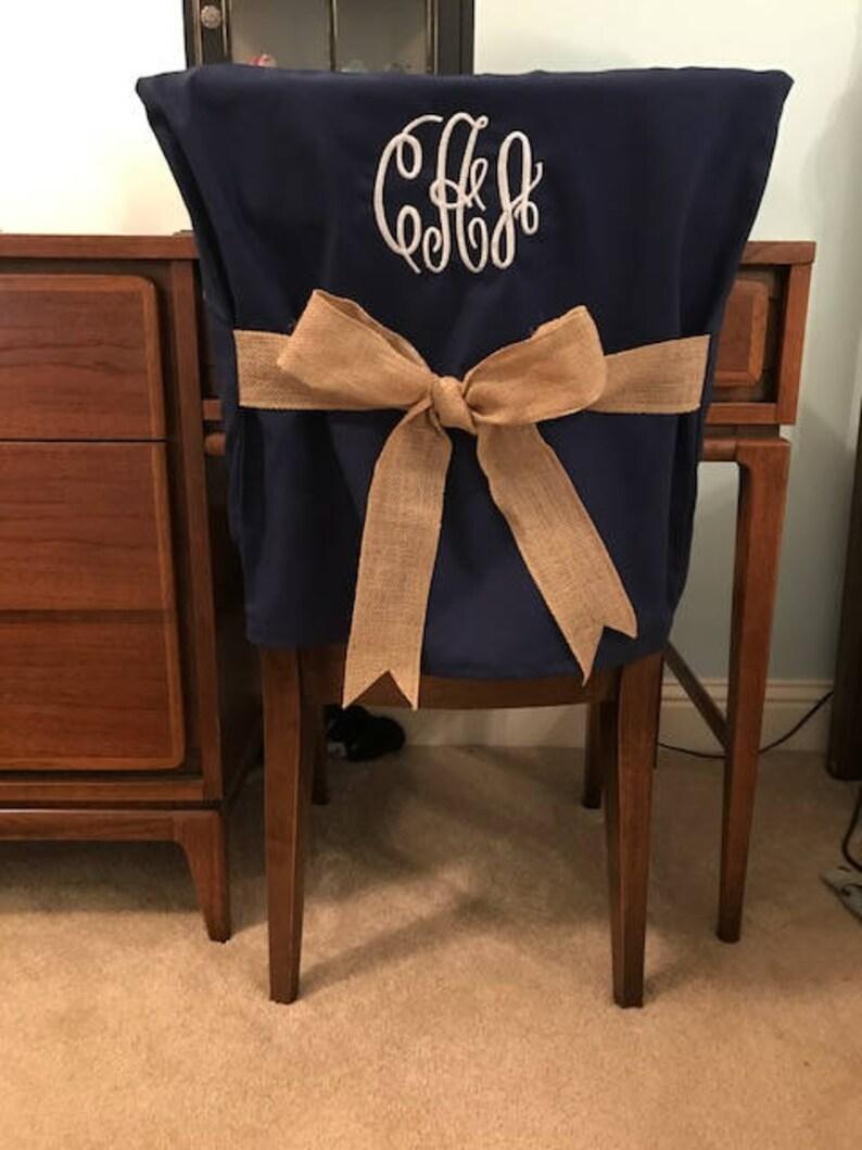 Desk Chair Covers Navy Monogrammed Dorm Back Cover