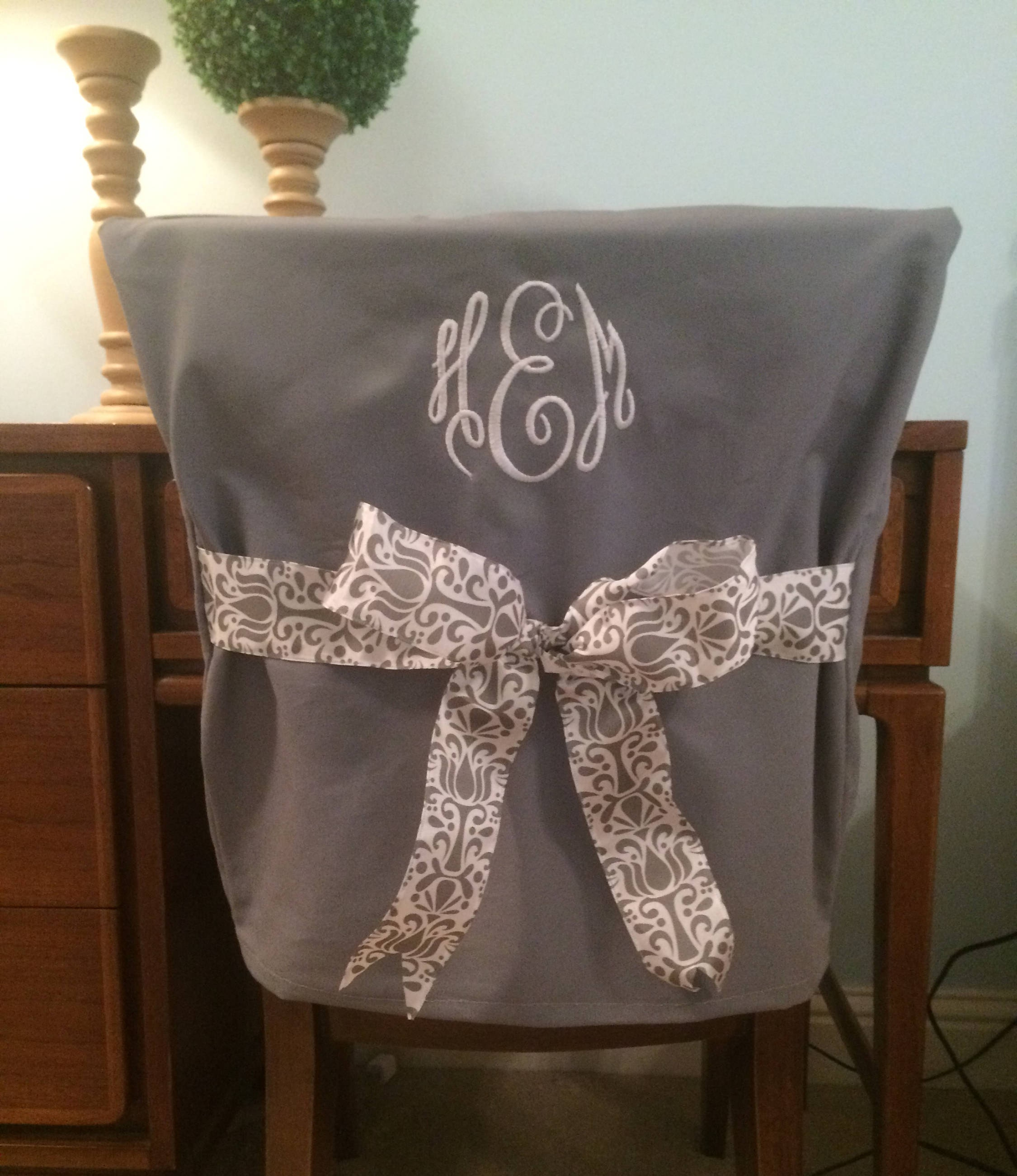 Desk Chair Covers Gray Monogrammed Dorm Chair Back Cover