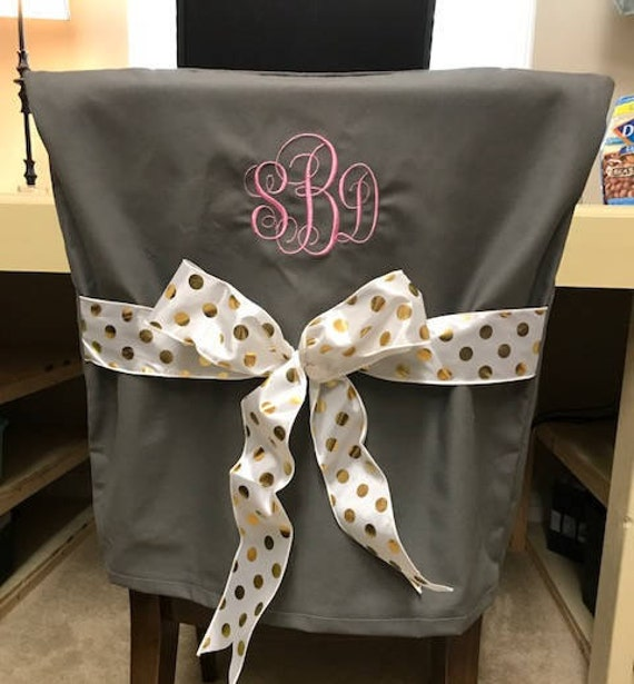 Pleasant Desk Chair Covers Gray Monogrammed Dorm Chair Back Cover Personalized Chair Cover Office Chair Dining Chair One Size Fits Most Theyellowbook Wood Chair Design Ideas Theyellowbookinfo