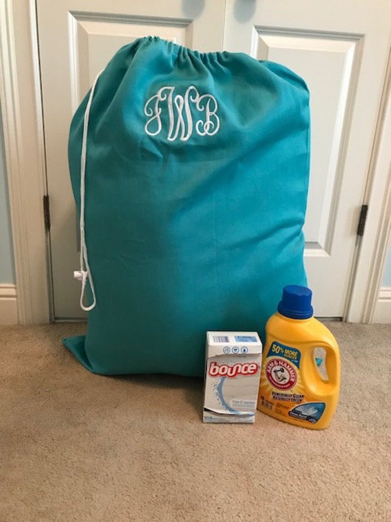 Personalized Teal Laundry Bag/ College Laundry bag/ Monogrammed Laundry  Bag/ Graduation gift