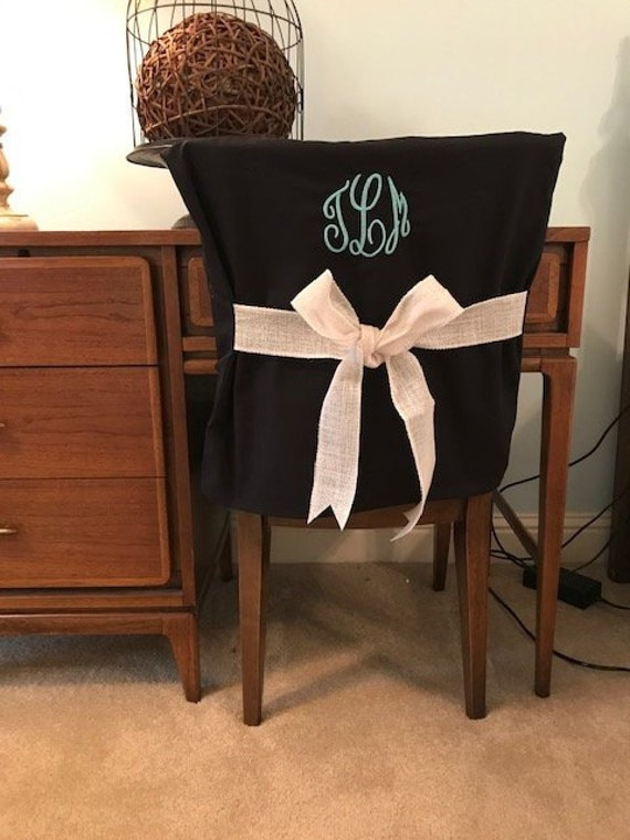 Admirable Desk Chair Covers Black Monogrammed Dorm Chair Back Cover Personalized Chair Cover Office Chair Dining Chair One Size Fits Most Theyellowbook Wood Chair Design Ideas Theyellowbookinfo