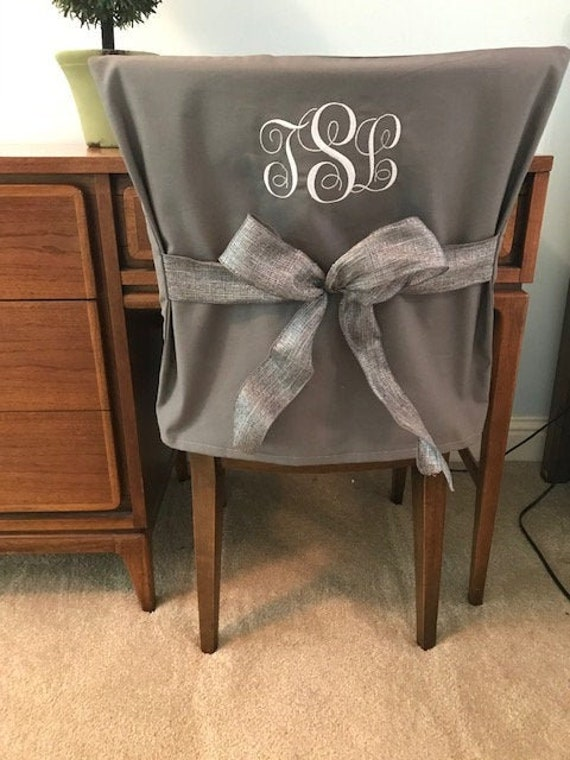 Tremendous Gray Monogram Dorm Chair Back Cover Personalized Chair Cover Office Chair Dining Chair Slip Cover One Size Fits Most Cjindustries Chair Design For Home Cjindustriesco