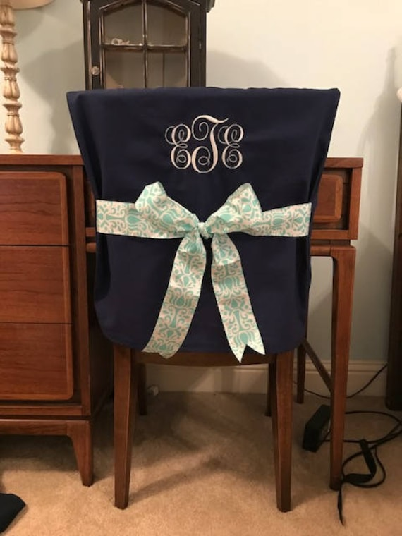 Superb Desk Chair Covers Navy Monogrammed Dorm Chair Back Cover Personalized Chair Cover Office Chair Dining Chair One Size Fits Most Theyellowbook Wood Chair Design Ideas Theyellowbookinfo