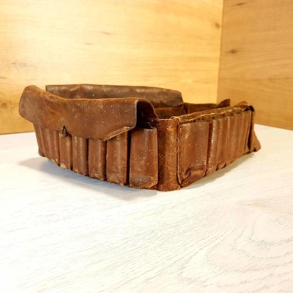 Cartouchière en cuir Vintage cartouchière munitions en cuir   Etsy 38042afb71c