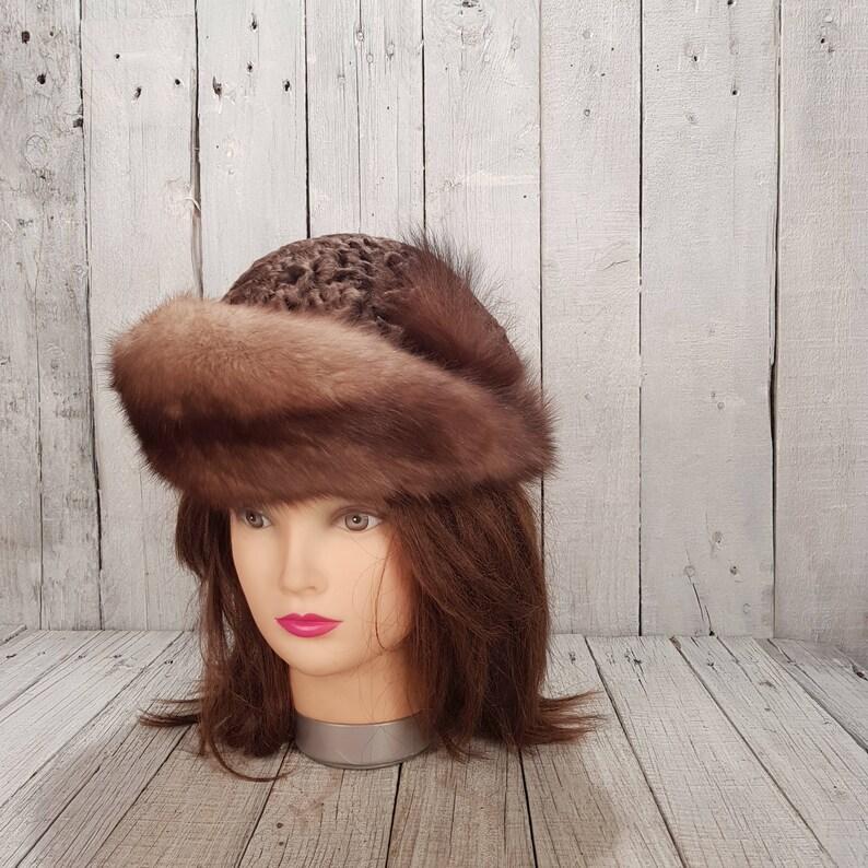 db7f8a5d4bd5b2 Vintage women winter hat Warm natural fur hats Women | Etsy