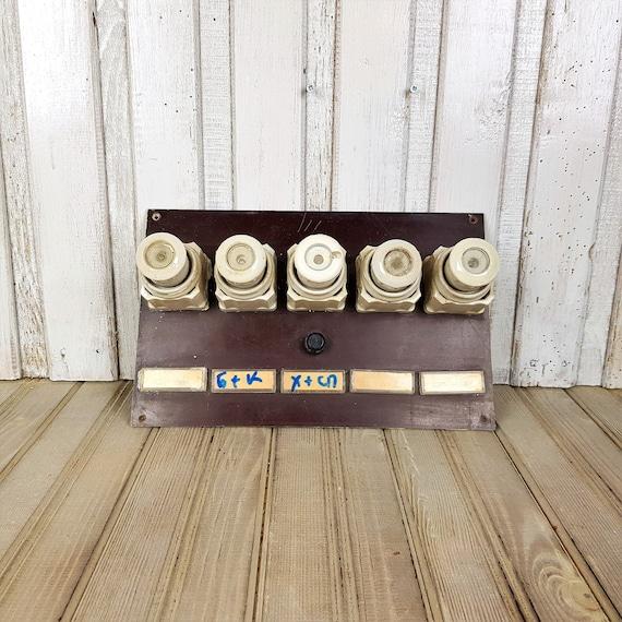 Vintage fuses in box, Set of ceramic fuses 1950s, Old electric fuse, on vintage transmission, vintage spark plug box, vintage cable box, vintage blasting cap box, vintage battery box, vintage hbo box, vintage breaker box, vintage fan box, ge electric panel box,