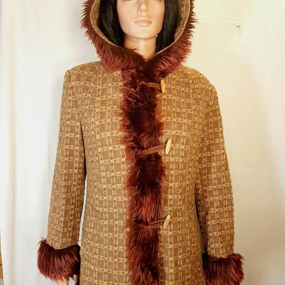 Vintage womens coat, Retro womens coat, Brown coat