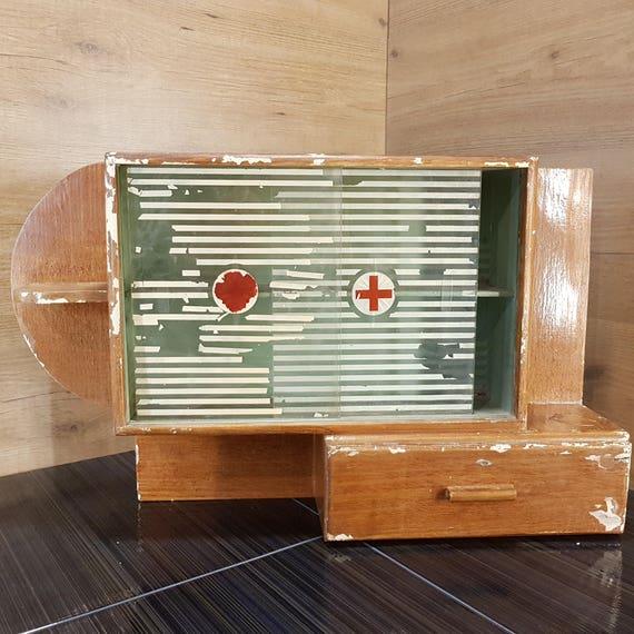 Vintage Wooden Medicine Cabinet Wood Box Red Cross Antique | Etsy