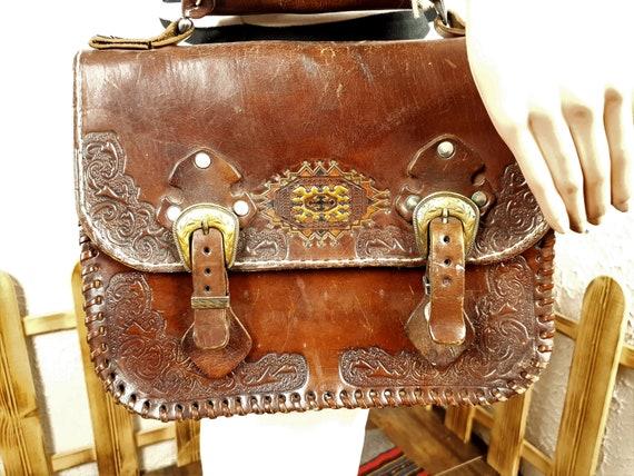 Brown leather bag, Leather bag, Vintage leather ba