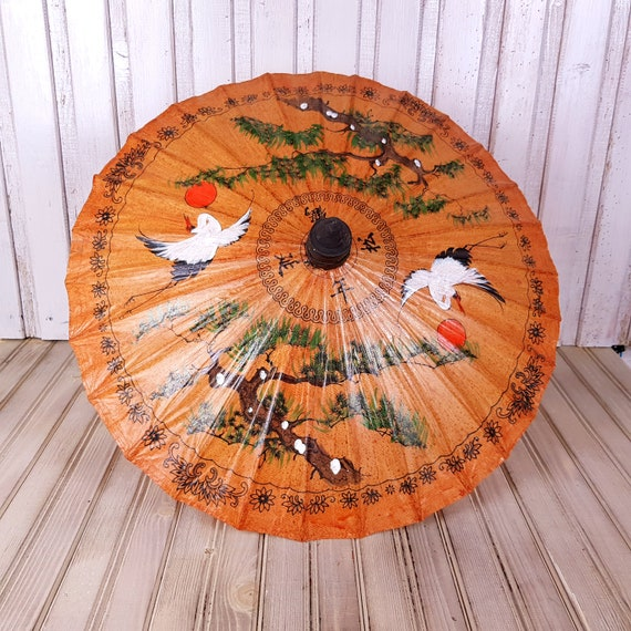 Vintage umbrella, Umbrella, Rice paper umbrella, B