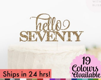 Hello 70 Cake Topper, 70th Birthday Cake Topper, Hello Age 70, Glitter Cake Topper, Hello Cake Topper Birthday Party Decoration