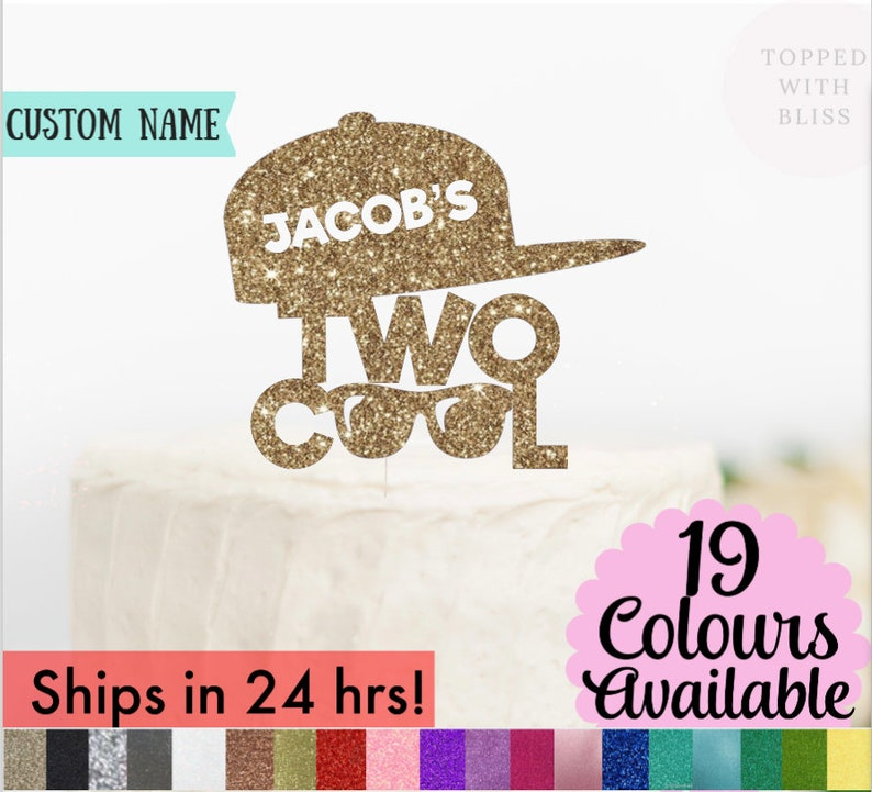 cake topper TWO cool cake topper 2nd Birthday two cool summer birthday sunglasses birthday 2 cool cake topper 2nd Birthday sign