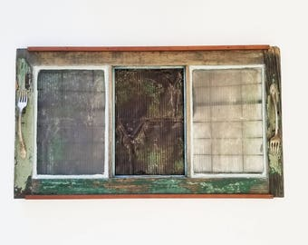 Reclaimed Window Roofing Tin Serving Tray