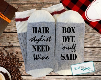 ae2961eb Hair Stylist gift, because of box dye, hair dresser, Gift for him, gift for  her,Funny Socks, Word socks, novelty socks, personalized