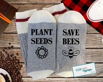 203d32682 Plant Seeds, Save Bees, honey bee, bee, nature lover, SUPER SOFT Novelty  Word Socks,,