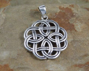 Sterling Silver Celtic Endless Weave Necklace Pendant with chain  Irish jewelry