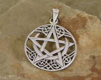 Sterling Silver Crescent Moon Pentacle Necklace with chain