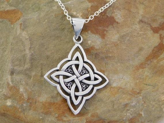 Argent Sterling Celtique Triquetra Pentacle Pendentif Pentagramme Wiccan Païen Bijoux