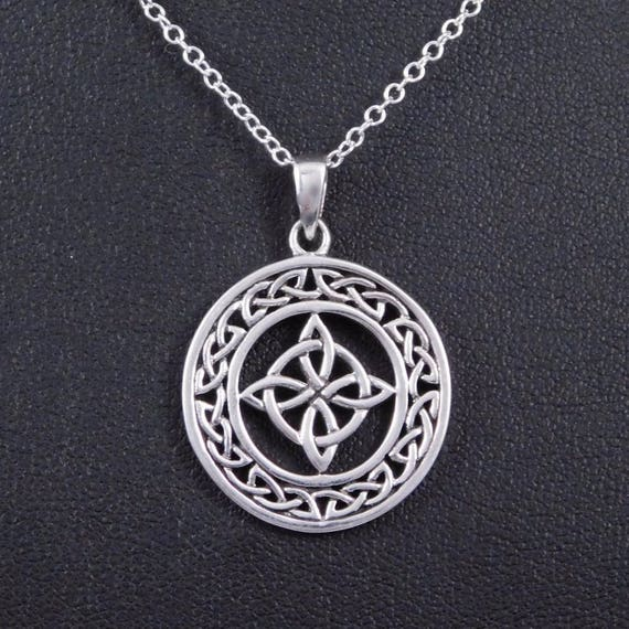 Sterling Silver Celtic Witches Knot Protection Necklace Charm Etsy