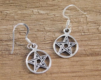 Sterling Silver Pentagram Pentacle drop earrings