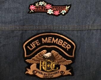 Vintage Harley Davidson Lady Harlem Denim Vest with Patches