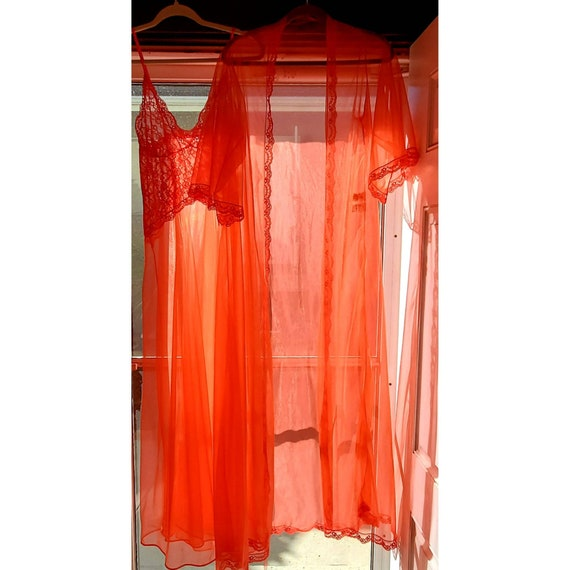 Sheer Red Nylon Frederick's of Hollywood 2pc Peign