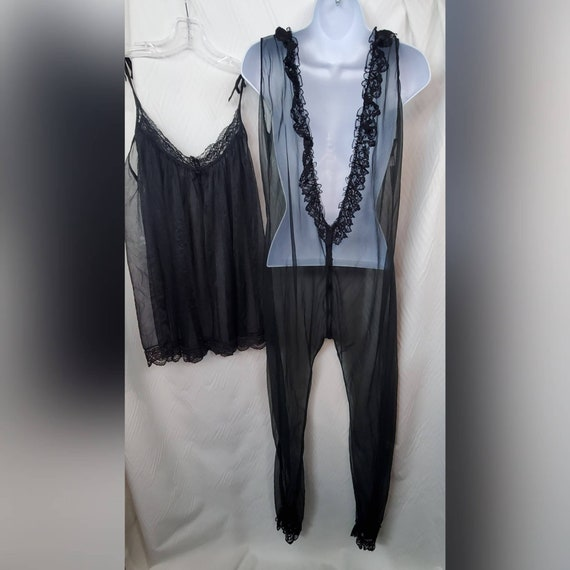 Vintage Frederick's Of Hollywood 2pc Sheer Black J