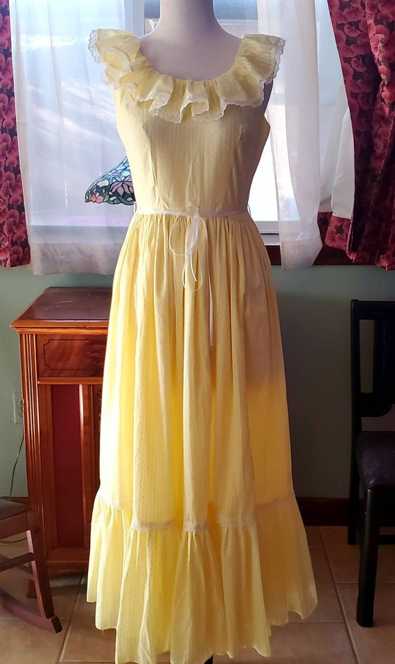 Vintage 70s Yellow & White Swiss Dot Prairie Dress