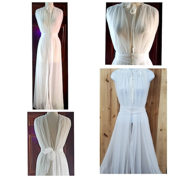 Vtg White Sheer Double Chiffon Frederick's of Holl