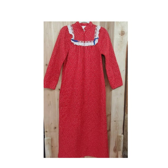 Jennifer Dale Red Quilted Housecoat House Dress Fr