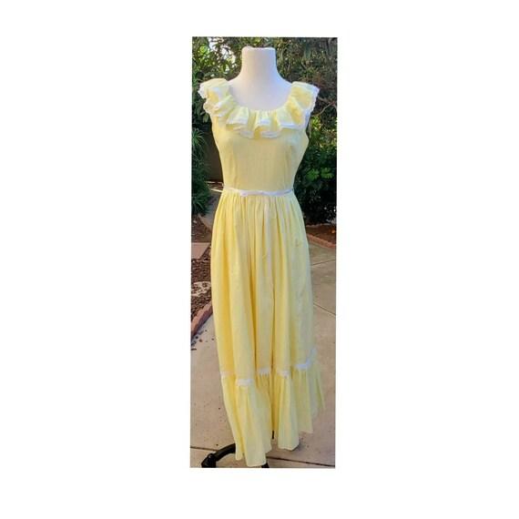 Vintage 70s Yellow & White Swiss Dot Prairie Dress