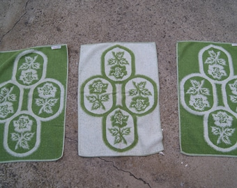 3 Green ST. MARY'S Hand Towels Fray Ends Roses