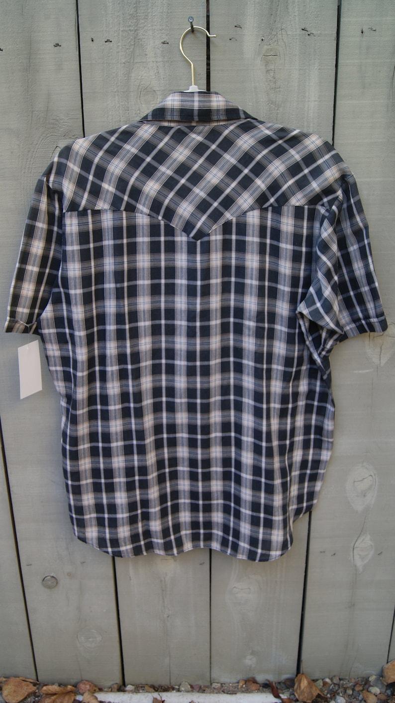 Vintage Men/'s Western DUDE Short Sleeve Plaid Pearl Snap Shirt Size Large