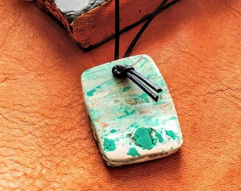 Polymer Clay Slab Raw Stone Raw Cut Pendant Necklace Faux Agate