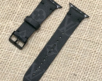 LV, apple watch band, 2LV Black, Apple watch straps, Lv Apple watch band, Series 1, 2, 3 and 4, louis vuitton apple watch band BLACK