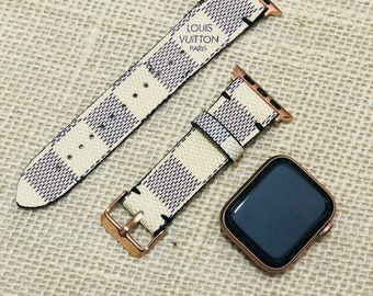 LV, apple watch band, Damier Azur, Apple watch straps, Lv Apple watch band, Series 1, 2, 3 and 4, louis vuitton apple watch band wL