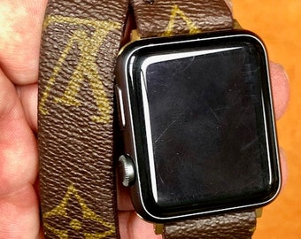 LV watch band, apple watch band, Louis Vuitton Monogram , Apple watch straps, Lv Apple watch band, Series 1, 2, 3 and 4, Double Tour wL