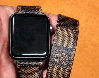 LV watch band, apple watch band, Damier Ebene, Apple watch straps, Lv Apple watch band, Series 1, 2, and 3, louis vuitton,  Double Tour wL
