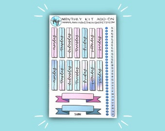 Monthly Kit Add-On (Snow Day) | Monthly Bullet Journal Stickers | Stickers for Planners, Journals, and More | Journaling Supplies