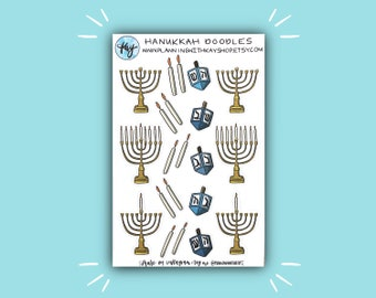 Hanukkah Doodles | Holiday and Hanukkah Bullet Journal Stickers | Stickers for Planners, Journals, and More | Journaling Supplies