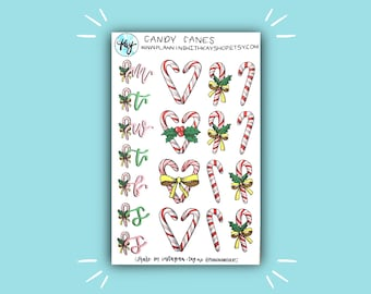 Candy Canes | Holiday and Christmas Bullet Journal Stickers | Stickers for Planners, Journals, and More | Journaling Supplies