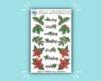 Holly and Poinsettia | Holiday and Christmas Bullet Journal Stickers | Stickers for Planners, Journals, and More | Journaling Supplies
