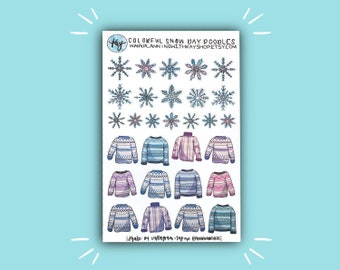 Colorful Snow Day Doodles | Winter Bullet Journal Stickers | Kitten Stickers for Planners, Journals, and More | Journaling Supplies