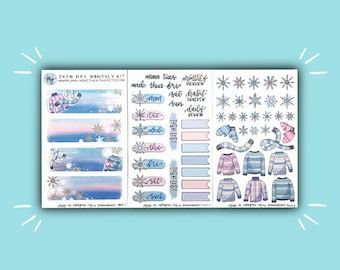 Snow Day Monthly Kit | Winter Bullet Journal Stickers | Kitten Stickers for Planners, Journals, and More | Journaling Supplies