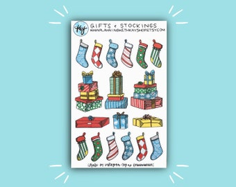 Gifts and Stockings | Holiday and Christmas Bullet Journal Stickers | Stickers for Planners, Journals, and More | Journaling Supplies