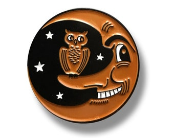 LIMITED EDITION - Vintage Halloween Style Owl and Grinning Moon Black and Orange Enamel Pin
