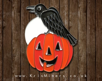 Halloween Pumpkin and Crow with Full Moon Enamel Pin Badge | by Kris Miners