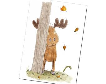 Cute Whimsical Moose Blank Greetings Card | Original Illustration by Kris Miners
